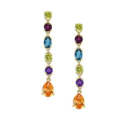 14K Yellow Gold Multi-Gemstone Earrings