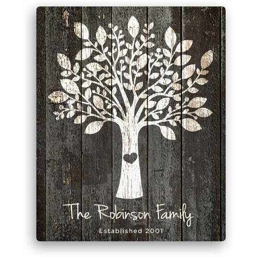 "Personalized Our Family Tree 16"" x 20"" Canvas Available In Multiple Colors"