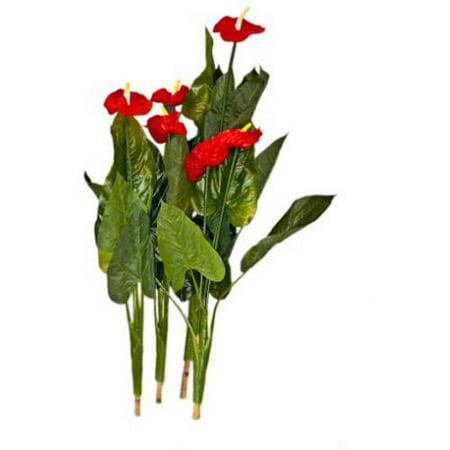 "ALEKO 41"" 4 Red Calla Artificial Plant Flowers"