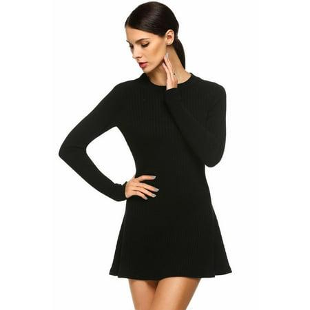 Women Slim Party Dress Casual Long Sleeve Knit Pullovers Sweater Mini Elastic Dress TPBY