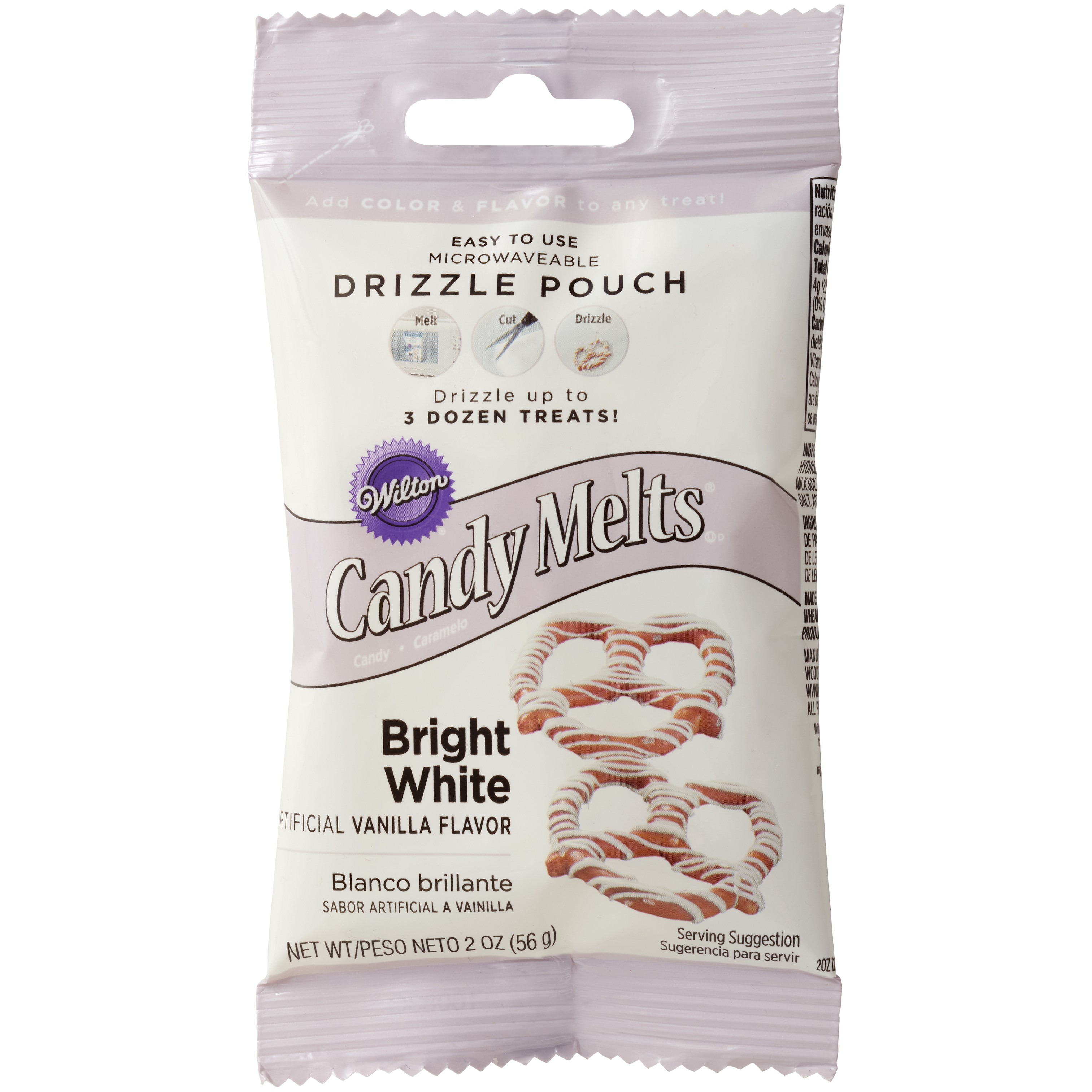 Wilton Candy Melt Drizzle Pouch, Bright White, 2 oz.