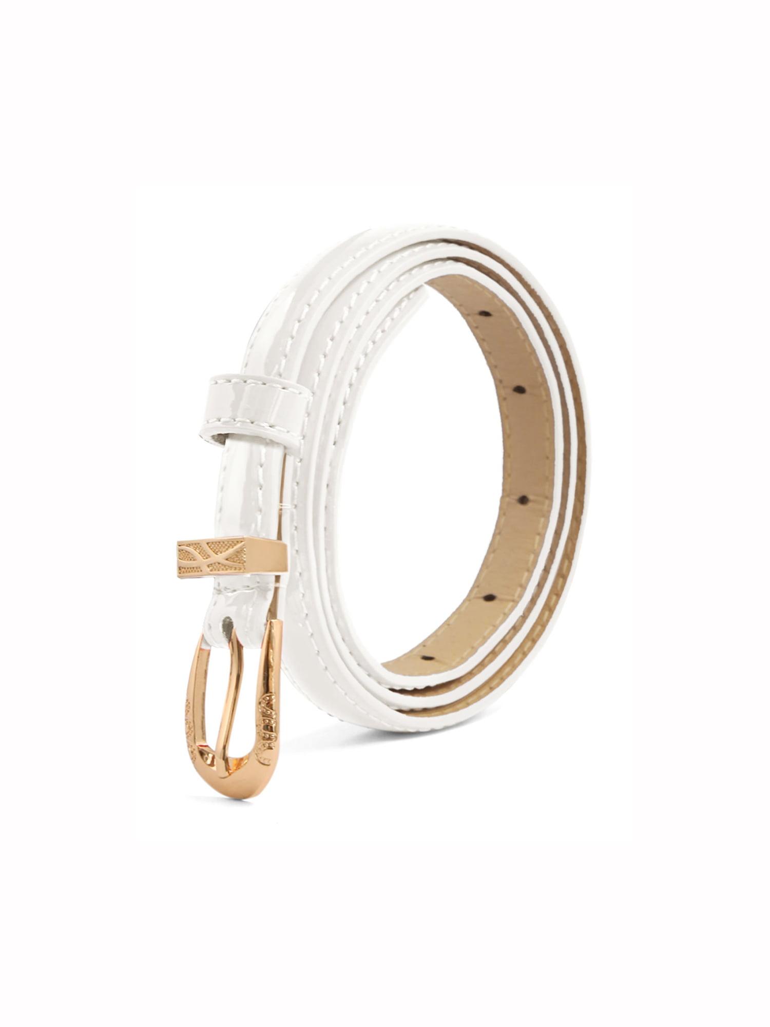 Allegra K Women Bowknot Design Metal Press Stud Buckle Faux Leather Waist Belt Apricot