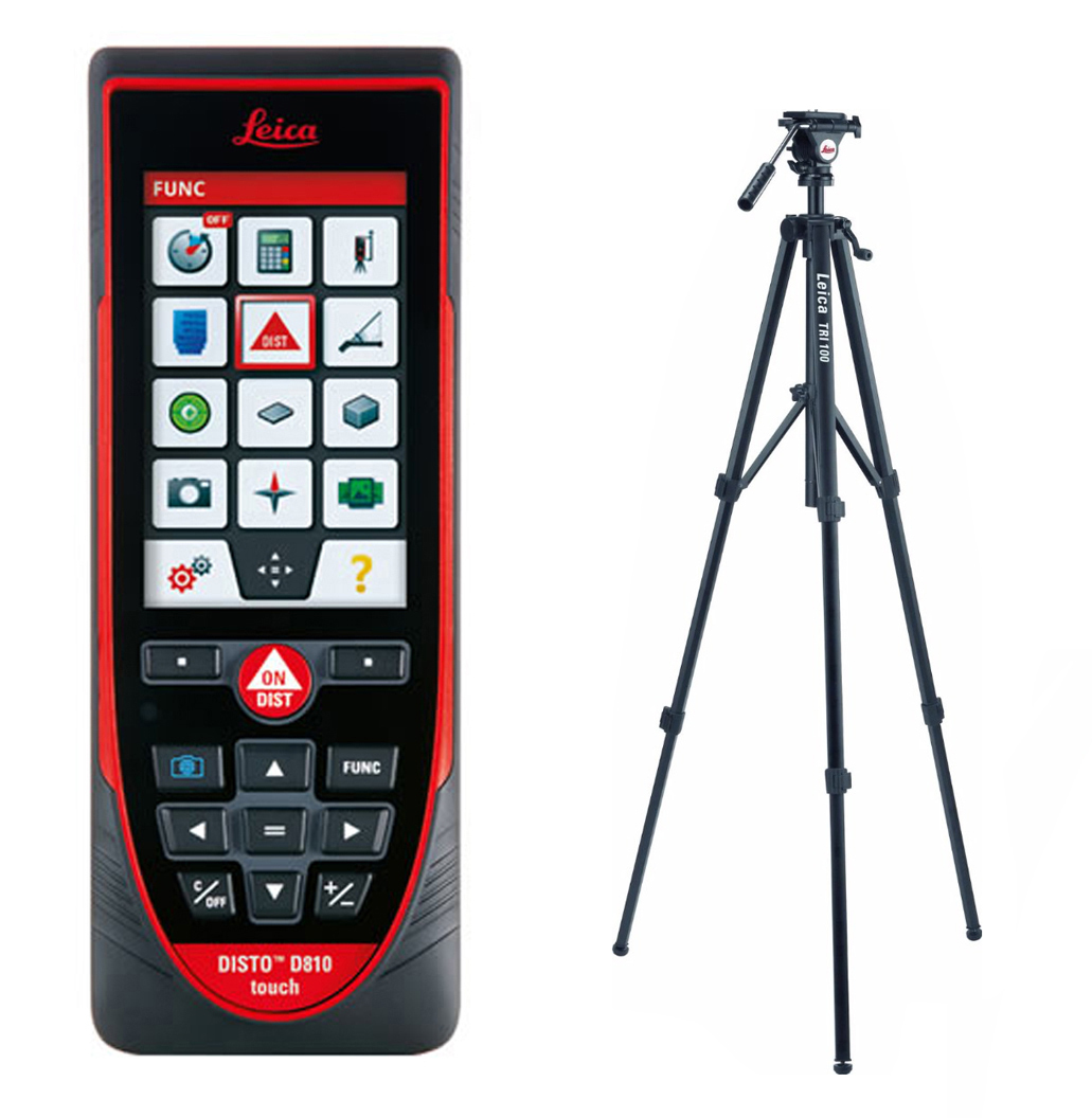 Leica DISTO D810 Touch Laser Distance Meter With TRI100 Tilting Head Tripod