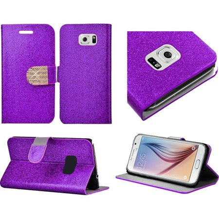 For Samsung S6 Shiny Bling Flip Wallet Credit Card   Purple