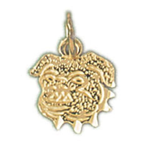14K Yellow Gold Bulldog Pendant   13 Mm