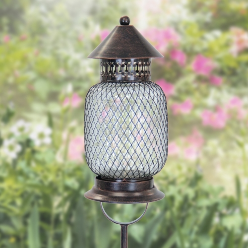 Exhart Bronze Solar LED Firefly Garden Stake/Lantern, Stakes, Outdoor lights, Accented Light for Garden or Yard or Driveway, Solar-Powered, Metal Mesh