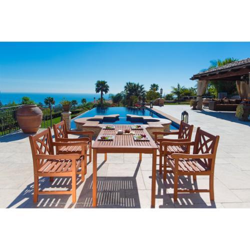 Vifah Malibu Eco-Friendly 5-Piece Wood Outdoor Dining Set...