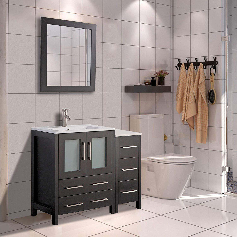 Vanity Art 36 Single Sink Bathroom Vanity Combo Set 5 Drawers 1 Shelf 2 Cabinets Ceramic Top Under Sink Cabinet With Mirror Va3024 36e Walmart Com Walmart Com