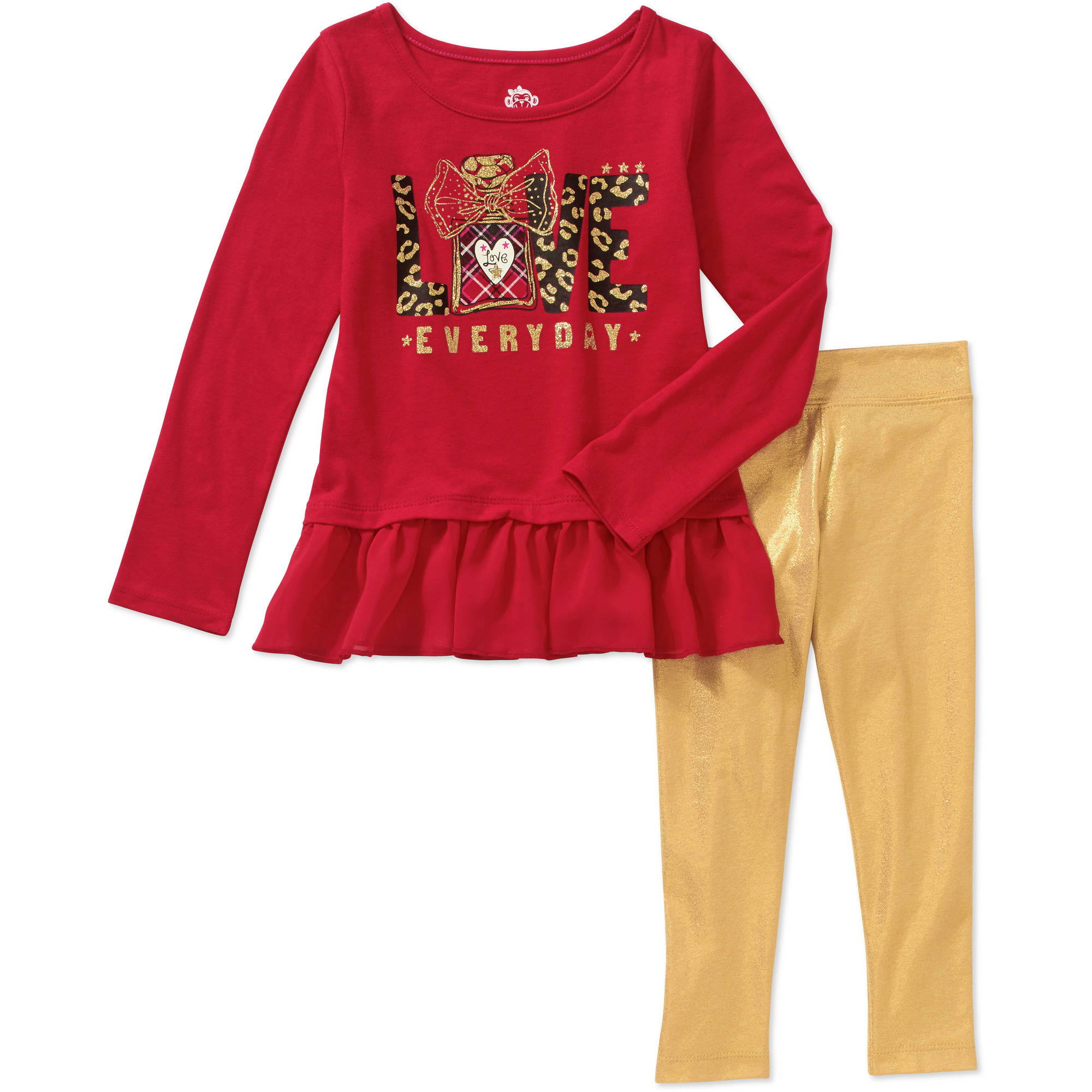 365 Kids from Garanimals Girls' Long Sleeve Graphic Chiffon Ruffle Tee and Shimmer Leggings Outfit Set