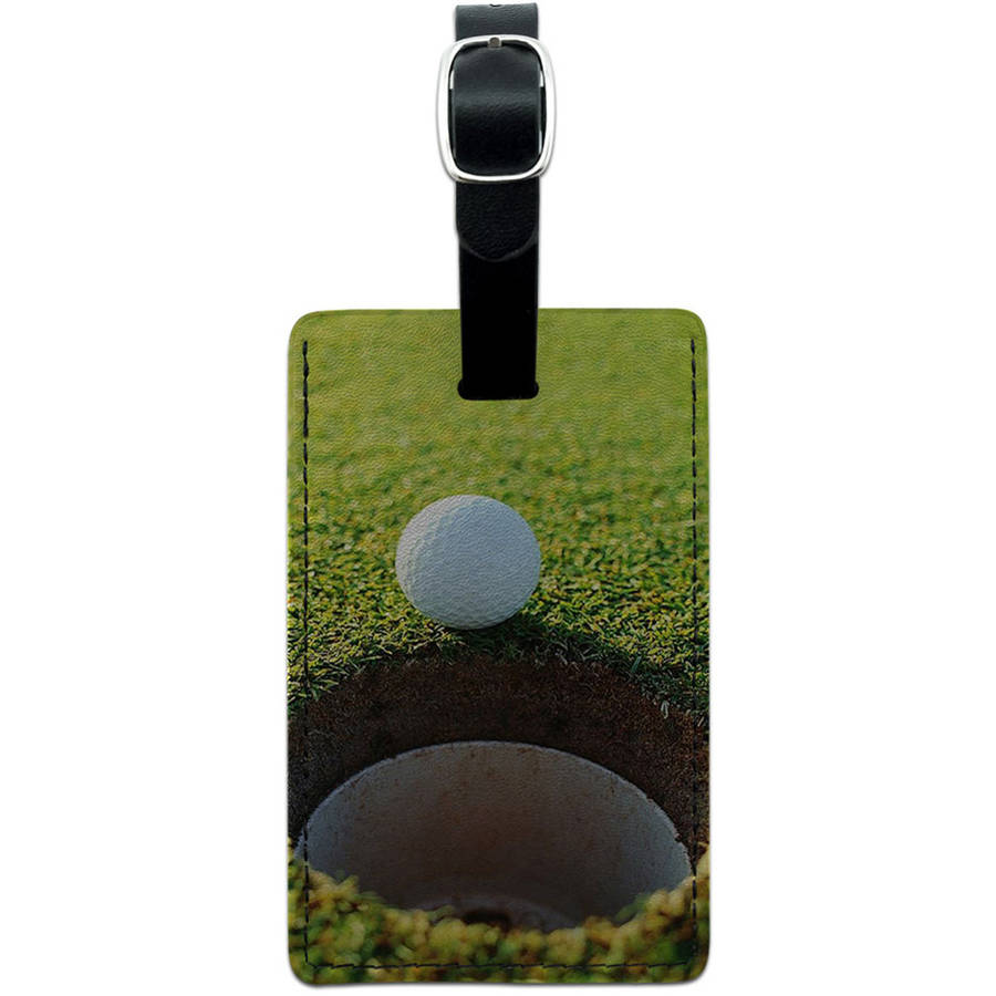 Golf Ball and Hole Golfing Leather Luggage ID Tag Suitcase Carry-On