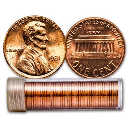 - 1981 Lincoln Cent 50-Coin Roll BU