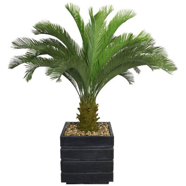 "54"" Tall Cycas Palm Tree Artificial Lifelike Faux in 14"" Fiberstone Planter By Minx NY"