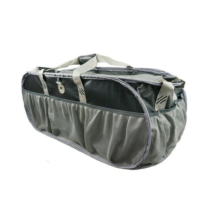 K-Cliffs Heavy Duty Trunk Organizer Large Pop-up Grocery Cargo Bag Tarpaulin Gym Duffel, Laundry Bag, Closet Bag Market Grocery Tote Bag Beach Picnic Bag Fit Truck SUV and Car, Black/Silver