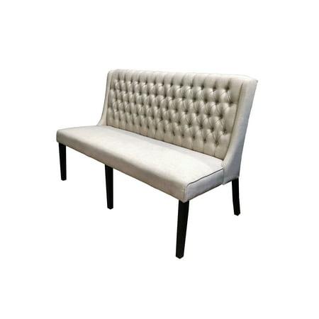 Best Master Furniture Newport 3-Seater Tufted Beige Linen Fabric Love