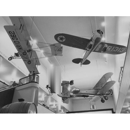 - An Assortment of Aircraft on Display at Museum of Science and Industry Print Wall Art