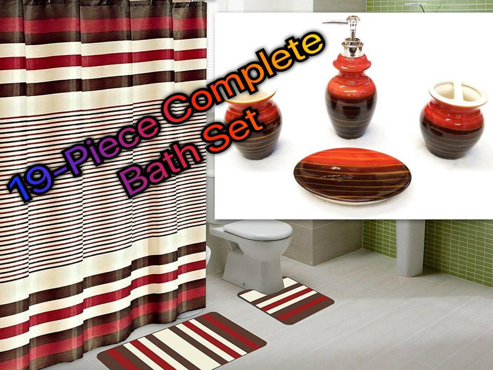 19 Piece Complete Bathroom Set Rugs Shower Curtain Hooks Ceramic All Included Walmart Com Walmart Com
