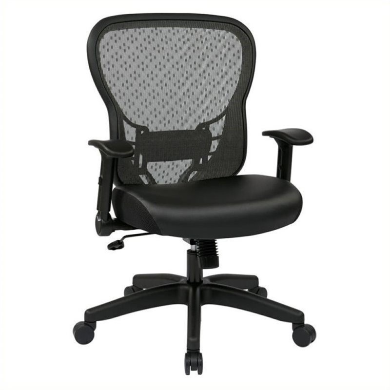 Scranton & Co Leather Back Office Chair with Flip Arms