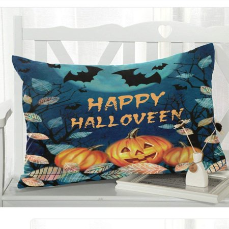 GCKG Halloween Spooky Night Autumn Valley Pillowcase 20x30 inches,Dark Forest with Pumpkin Fallen Leaves on a Moon Pillow Case Cover - image 1 of 3