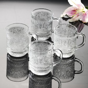 Renaissance 10 oz. Glass Crystal Hot Beverage Coffee Mugs Cups Drinkware Glasses, Set of 24