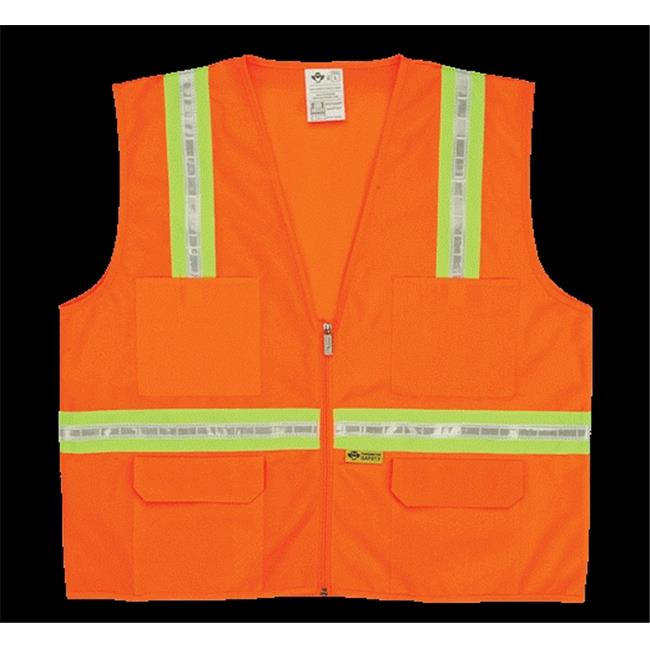2W 8038-A M Multi-Pocket Surveyor Vest - Orange, Medium