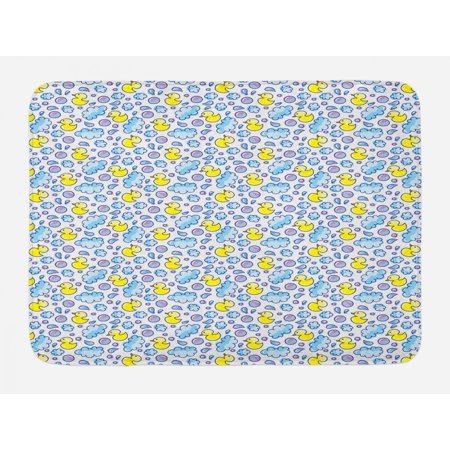 Baby Bath Mat, Washing Time Themed Image with Soap Bubbles Water Droplets Rubber Ducks Pattern, Non-Slip Plush Mat Bathroom Kitchen Laundry Room Decor, 29.5 X 17.5 Inches, Blue Lilac Yellow, Ambesonne