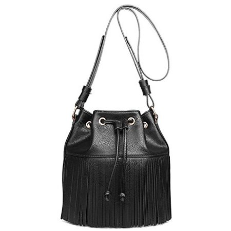 Miss Lulu Leather Look Fringe Tassel Drawstring Bucket Hobo Shoulder Bag -