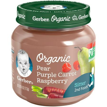 Gerber Organic 2nd Foods Pear Purple Carrot Raspberry Baby Food, 4 oz. Glass Jar (Pack of 6)