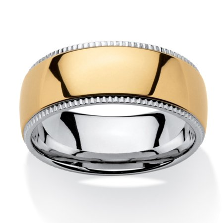 Men's Two-Tone 9 mm Comfort Fit Wedding Band in Gold Ion-Plated Stainless Steel