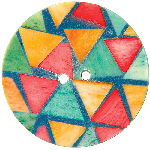 "Handmade Bone Button, 2"" Round Triangle Pattern 1"