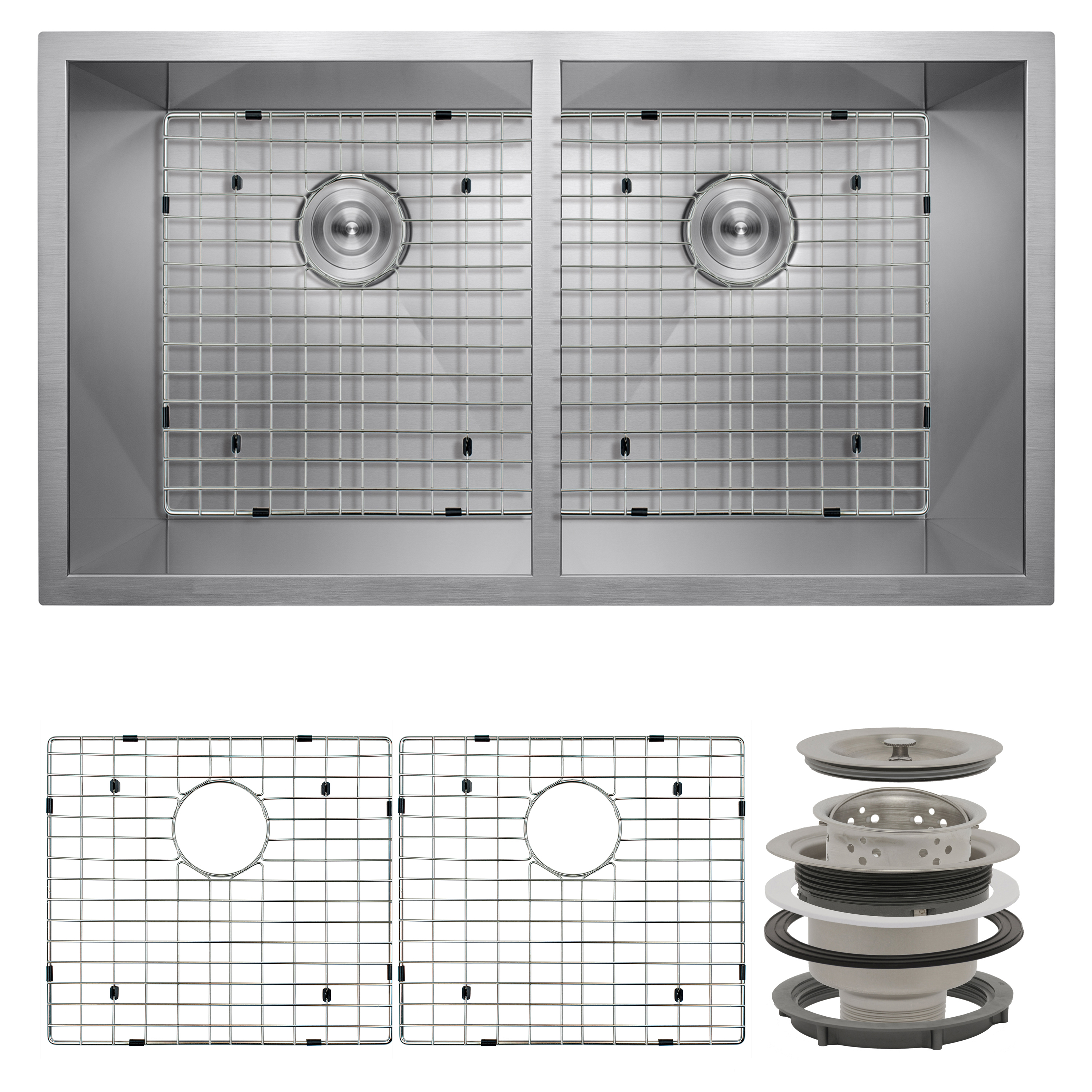 "Image of AKDY 32"" x 18"" x 9"" Under Mount 50/50 Double Bowl Kitchen Sink w/ Drain & Grid"