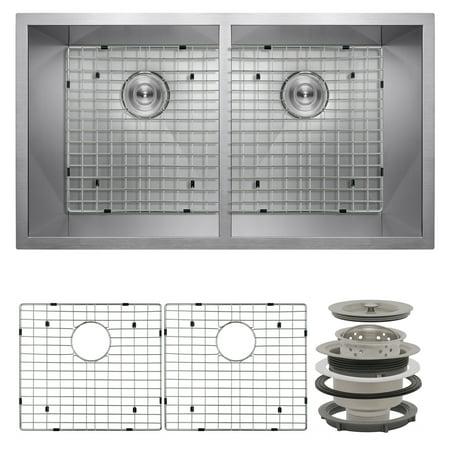 "Image of AKDY 32"" x 18"" x 9"" Under Mount 50/50 Double Bowl Kitchen Sink w/ Drain & Grid"