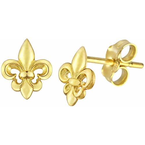 US GOLD 10kt Gold Fleur de Lis Stud Earrings
