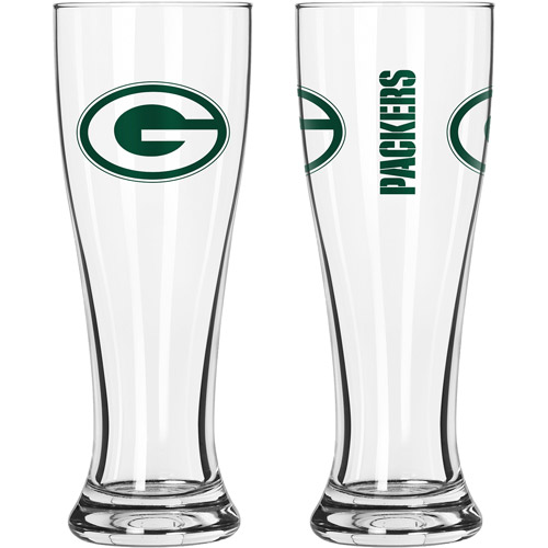 16oz NFL Green Bay Packers Gameday Style Glass Pilsner Set, 2pk