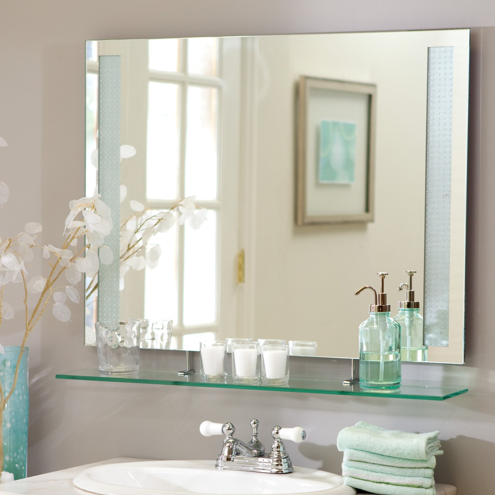 Décor Wonderland Frameless Roxi Wall Mirror with Shelf 31.5W x 23.6H in. by Decor Wonderland of US