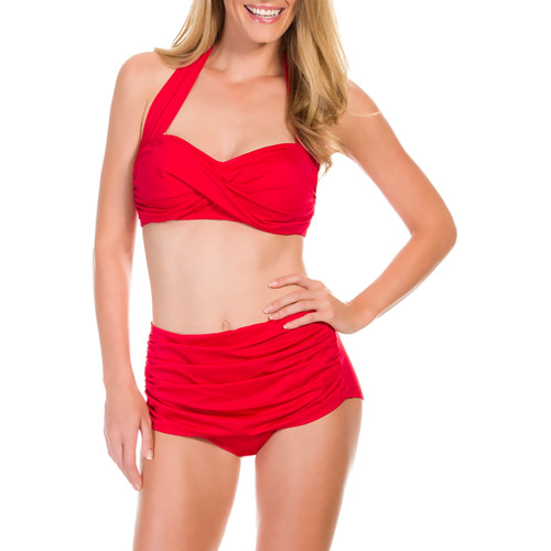 Suddenly Slim By Catalina Women's Slimming High-Waisted Bikini 2 Piece Set
