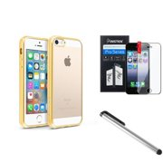 BasAcc Clear Soft TPU Back Cover with Gold Chrome Edge Bumper For iPhone SE 5S 5 (with Protector + Stylus)