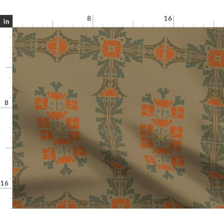 Victorian Brown Vintage Upholstery Quilt Fabric Printed by Spoonflower BTY ()