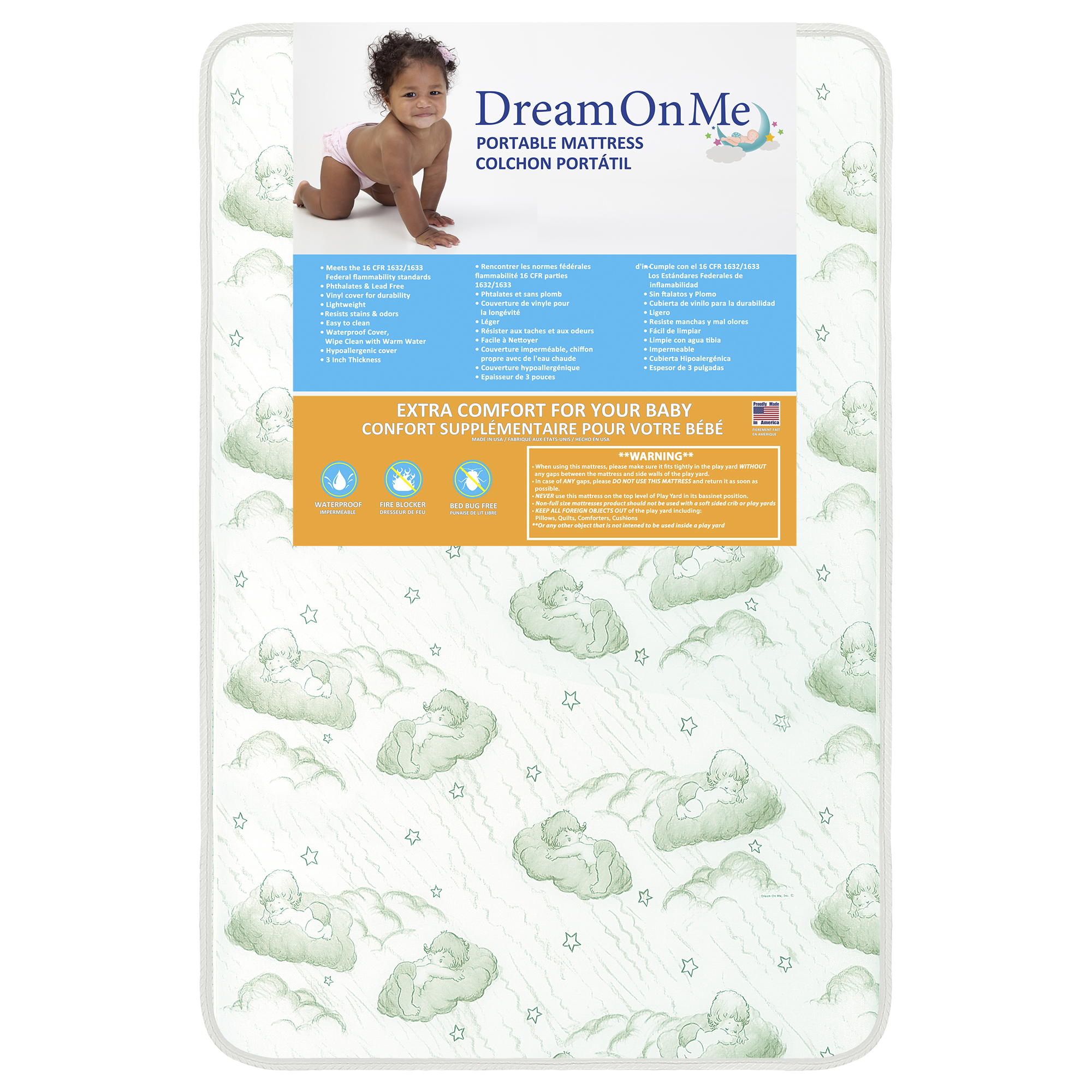 Dream On Me Baby Suite 300 Firm Play yard Mattress Square Corner
