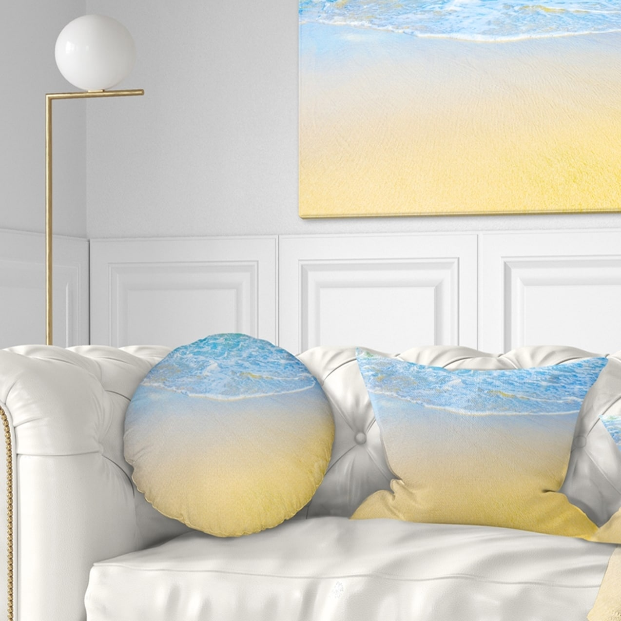 x 26 in in Sofa Throw Pillow 26 in Designart CU10750-26-26 Smooth Sea Surf Over Blue Waters Seashore Cushion Cover for Living Room