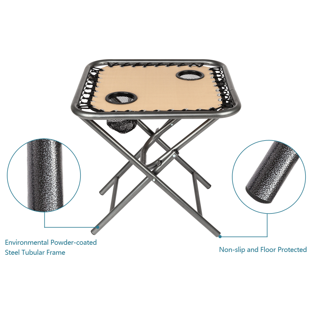 UBesGoo Folding Table, Polyester with Metal Frame, 2 Mesh Cup Holders, Compact-Khaki
