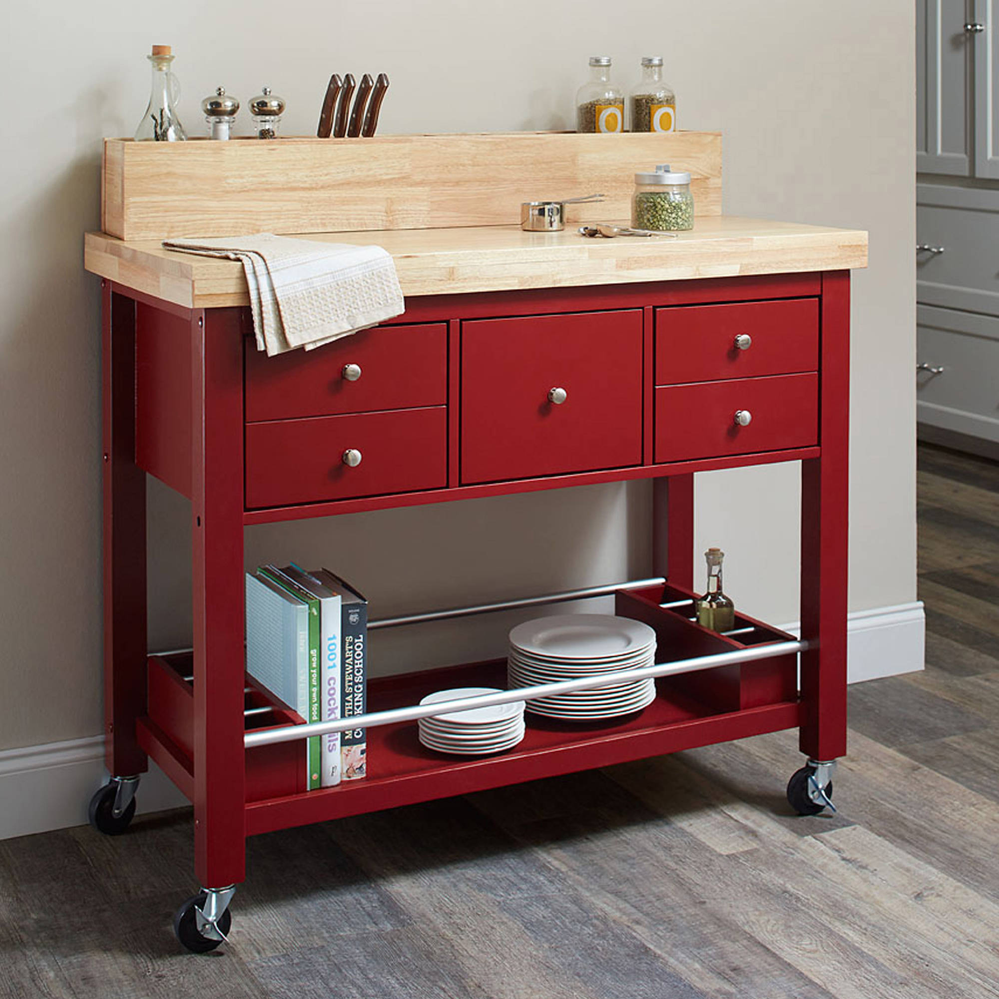 Coaster Furniture Kitchen Cart, Natural and Red