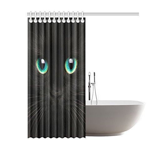 GCKG Cute Animal Shower Curtain Black Cat Polyester Fabric Bathroom Sets 60x72 Inches