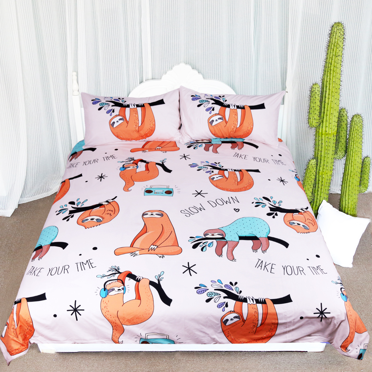 Arightex 3Pcs Baby Sloths Bedding Set Pink Orange Cover Set