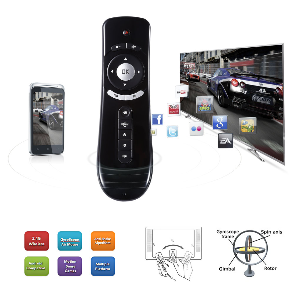 d2a948b02da Fly Air Mouse T2 Remote Control 2.4GHz Wireless 3D Gyro Motion Stick For 3D  Sense Game PC Android TV Box TV Player - Walmart.com
