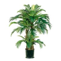 4′ Realistic Artificial Phoenix Palm Tree in Round Pot 2pcs, (Sold in Pairs)