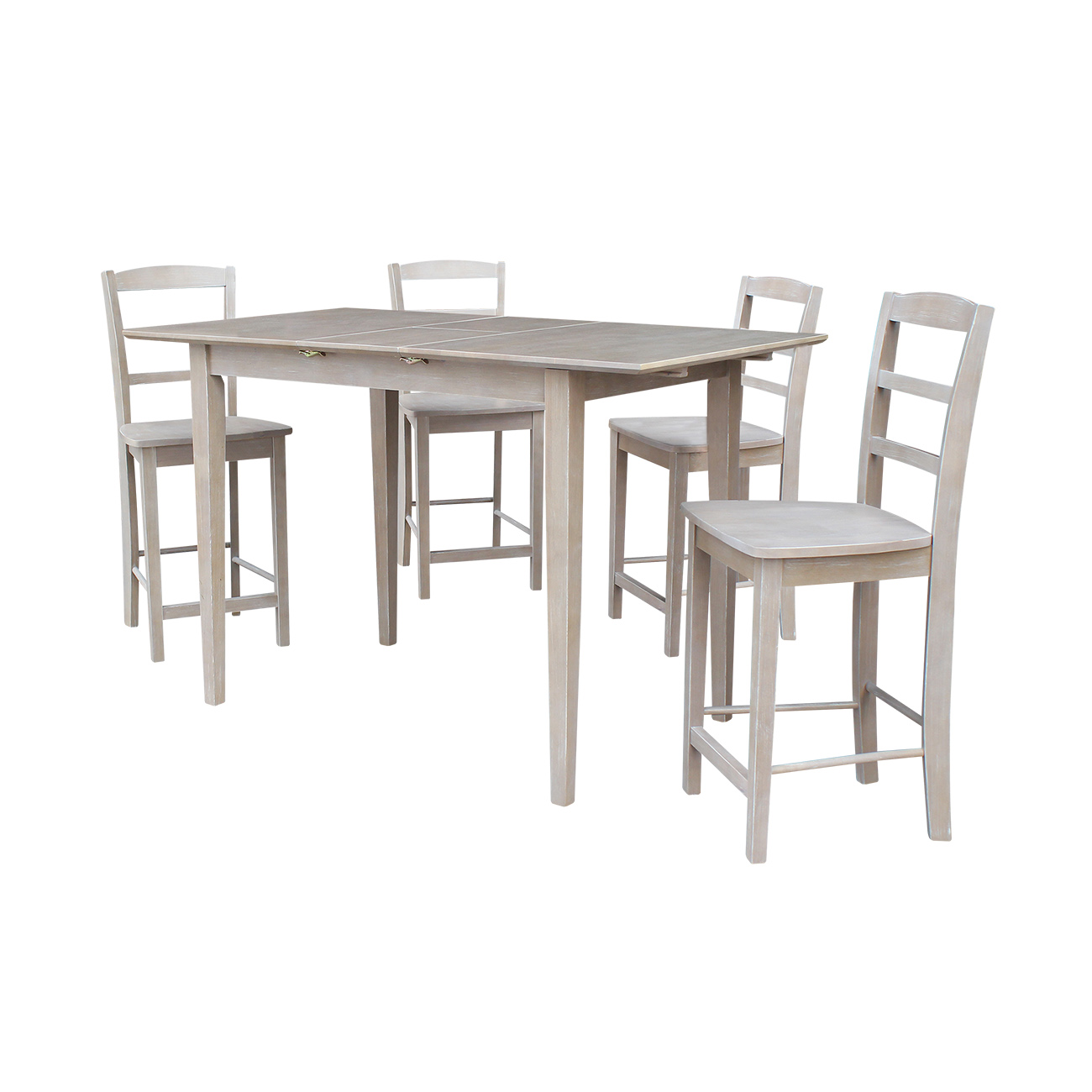 Solid Wood Counter Height Table With 12 Butterfly Leaf And 4 San Remo Stools Washed Gray Taupe 5 Piece Set Walmart Com Walmart Com