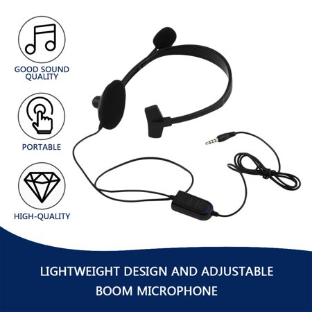 Black Wired Gaming Game Headset Earphone For Playstation PS4 With VOL Portable - image 3 of 8
