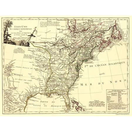 Old War Map United States With The Royal Isles Of Newfoundland 1776