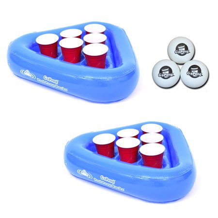 GoPong Pool Pong Rack Floating Beer Pong Set, Includes 2 Rafts and 3 Pong (Glass Float Ball)