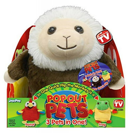 Pop Out Pets Rain Forest, Reversible Plush Toy, Get 3 Stuffed Animals in One - Parrot, Frog & Monkey, 8 in. - Frog Toys